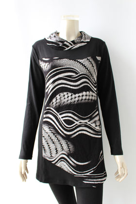 Ladies' printed hoodie knitted dress