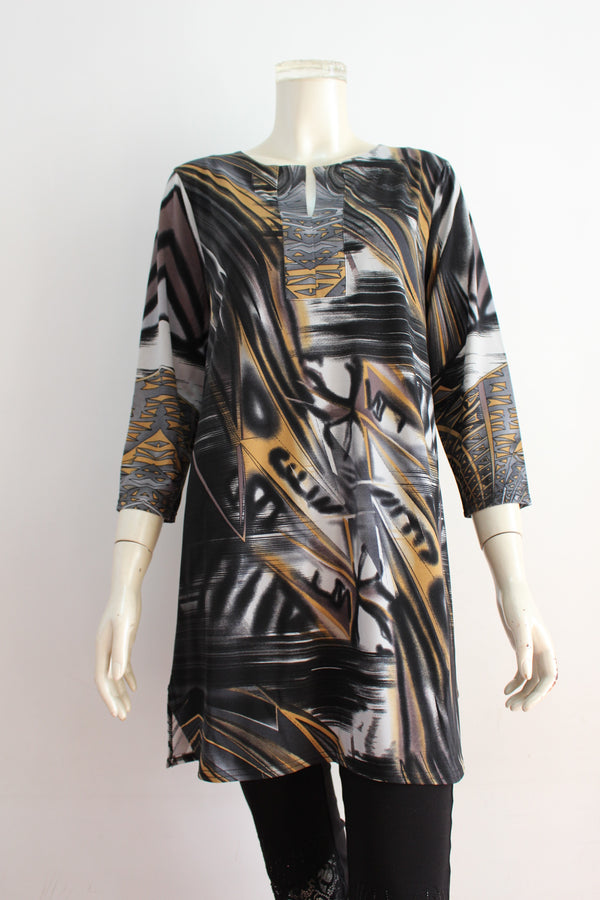 Ladies' 3/4 sleeve printed knitted dress