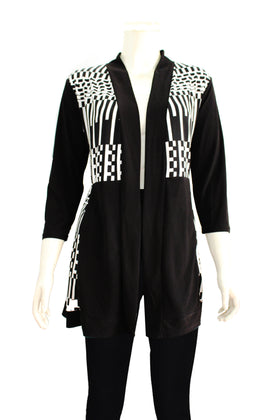 Ladies' panel printed open front cardigan