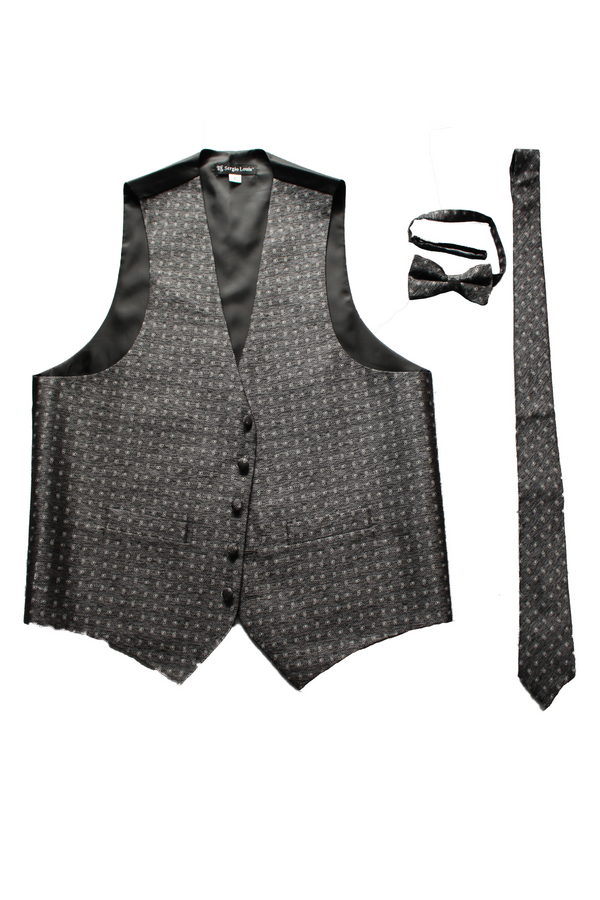 Men's formal vest black with white dot