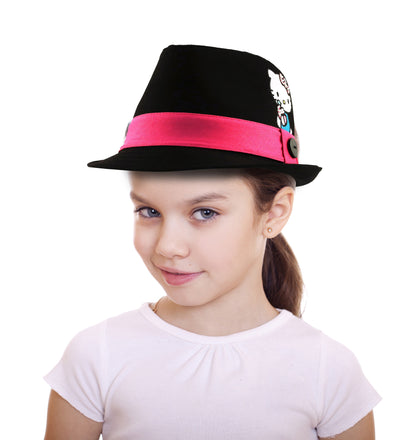 Sanrio Hello Kitty Cotton Fedora with Satin Character Patch, Black, Little Girls, Age 4-7 - The Accessories Outlet