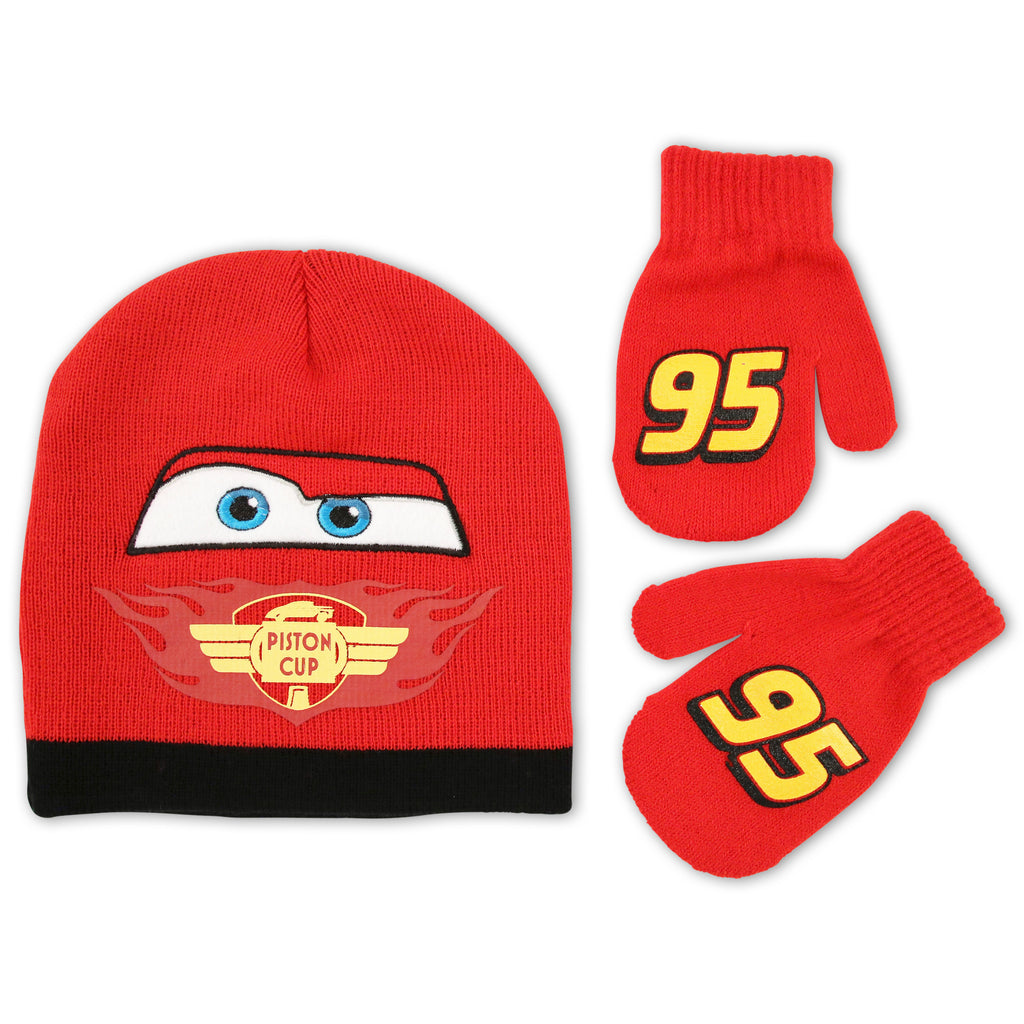 Disney Cars Lightning McQueen Hat and Mitten Cold Weather Set, Toddler Boys, Age 2-4 - The Accessories Outlet