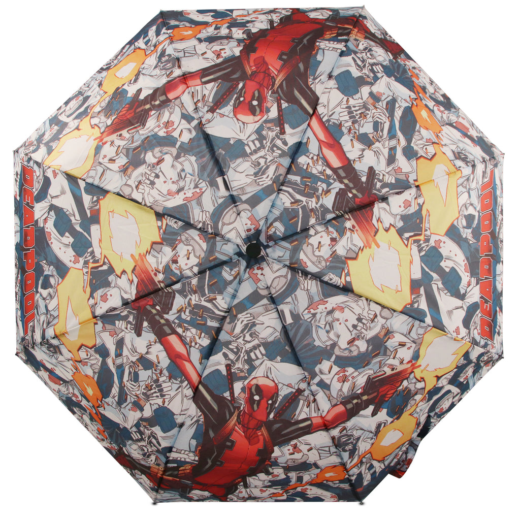 Marvel Comics Superhero Deadpool Collapsible Mini Umbrella, Youth/Mens - The Accessories Outlet