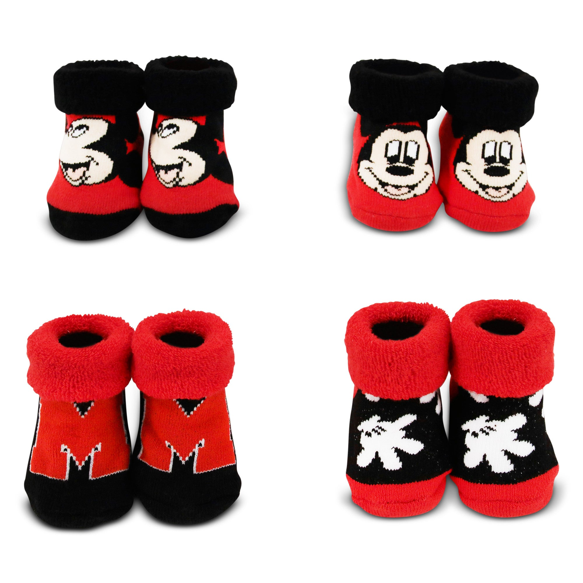 Disney Mickey Mouse 4 Pair Terry Booties Gift Set Baby Boys Age 0