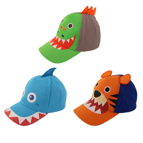 ABG Accessories 3 Pack Toddler Boys Assorted Critter Designs, Cotton Baseball Cap, Ages 2-4 - Accessory Place