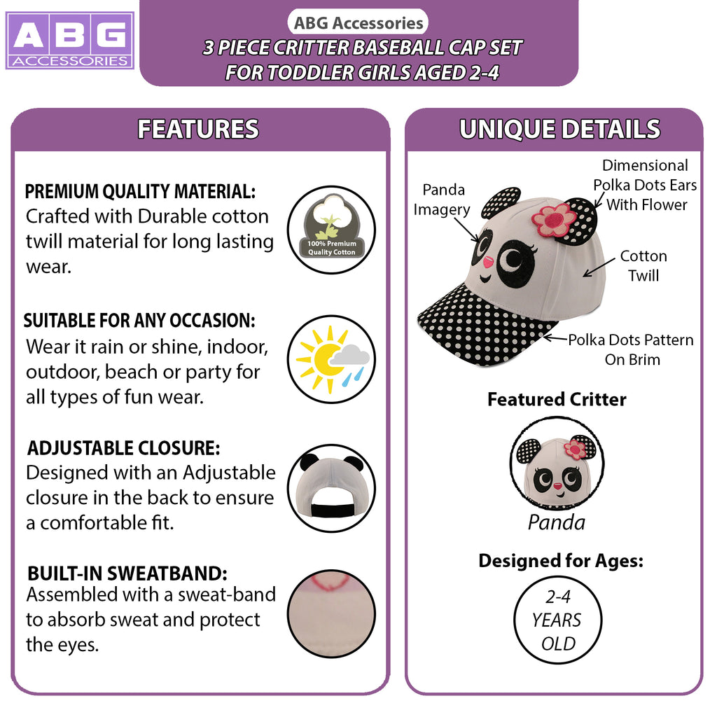 ABG Accessories 3 Pack Toddler Girls Assorted Critter Designs, Cotton Baseball Cap, Ages 2-4 - The Accessories Outlet