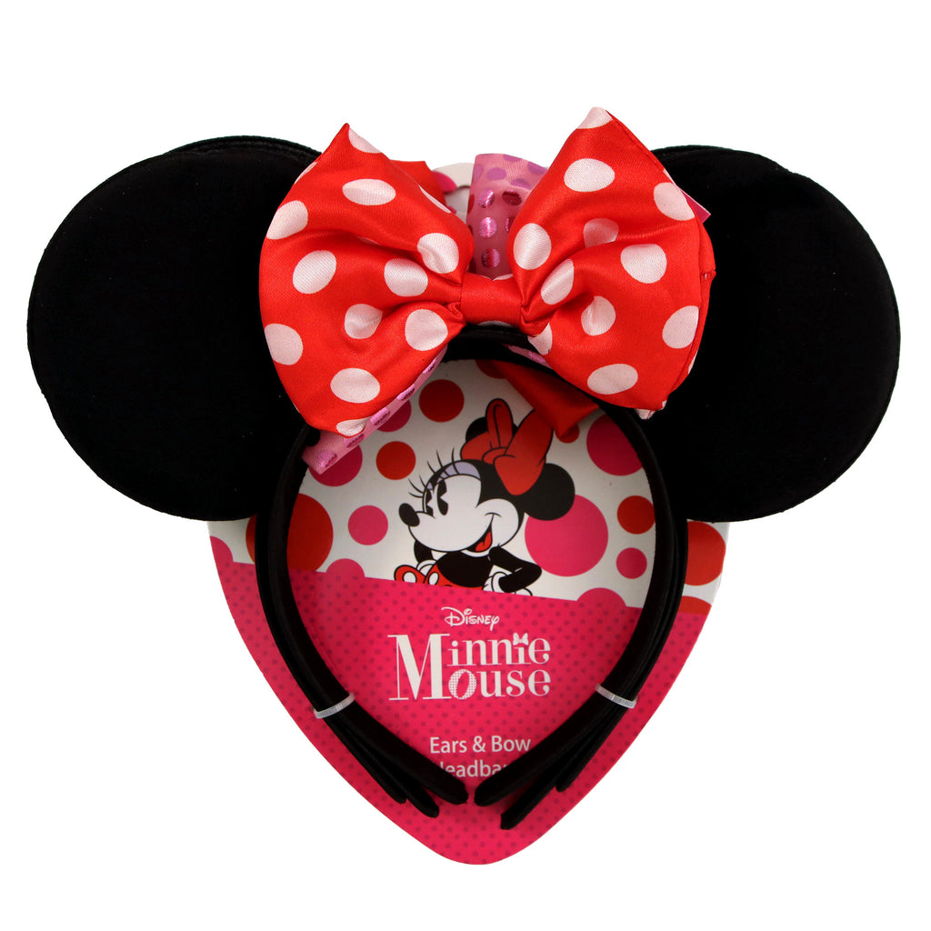 Disney Minnie Mouse Headband with Ears and Bow 3 Piece Set, Big Girls, Age 7-14 - The Accessories Outlet