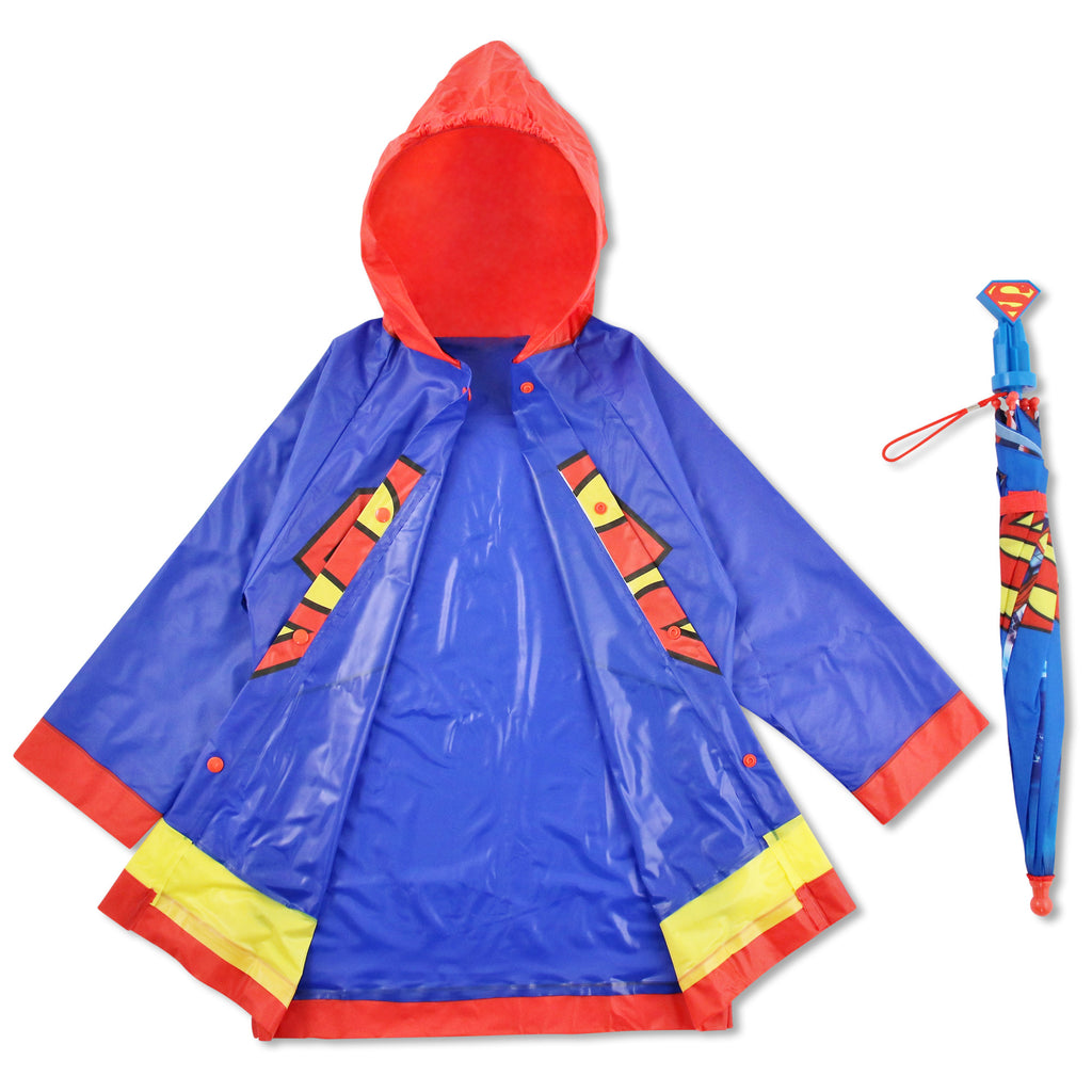 DC Comics Superman Slicker and Umbrella Rainwear Set, Little Boys, Age 2-7 - The Accessories Outlet