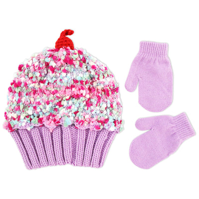 ABG Accessories Cup Cake Style Beanie and Mittens Cold Weather Set, Toddler Girls, Age 2-4 - The Accessories Outlet