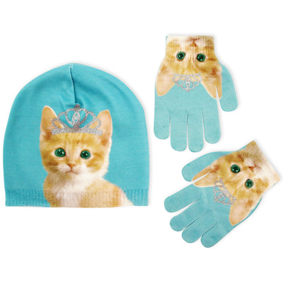 ABG Accessories Pug or Kitty Design Beanie and Gloves Cold Weather Set, Little Girls, Age 4-7 - The Accessories Outlet