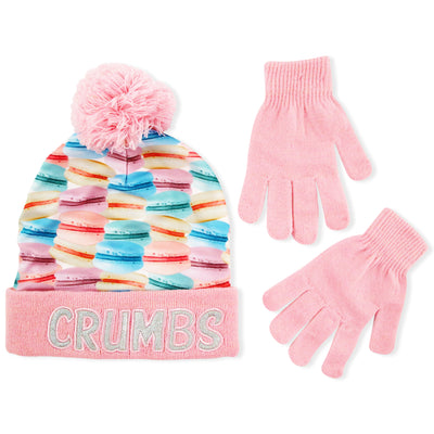 ABG Accessories Cuffed Beanie Hat and gloves Cold Weather Set, Little Girls, Age 4-7 - The Accessories Outlet