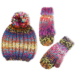 ABG Accessories Chunky Knit Winter Beanie Hat and Matching Cuffed Mitten Set, Big Girls 7-14 - The Accessories Outlet
