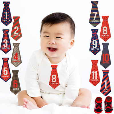 Rising Star Milestone Photo Prop Belly Stickers and Booties Gift Set, Baby Boys, Age 0-12M - Accessory Place