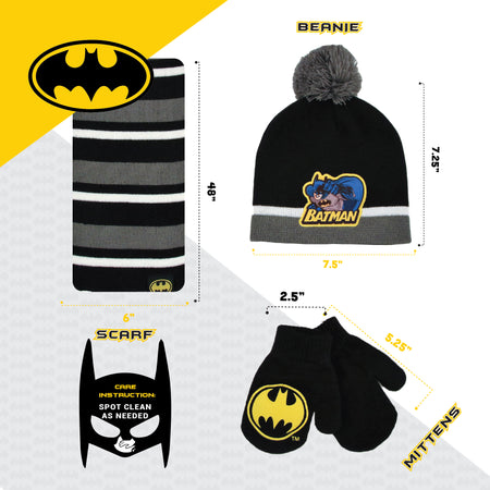 DC Comics Batman Hat, Scarf and Mitten Cold Weather Set, Toddler Boys, Age 2-4 - The Accessories Outlet