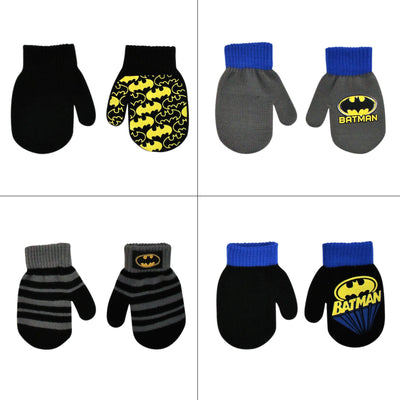 DC Comics Batman Designs 4 Pair Acrylic Mittens Set, Toddler Boys, Age 2-4 - The Accessories Outlet