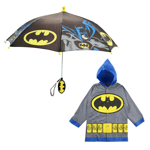 DC Comics Batman Character Slicker and Umbrella Rainwear Set, Little Boys, Age 4-5 or 6-7