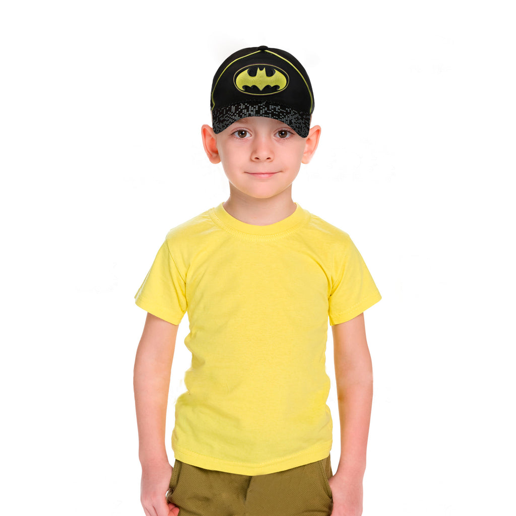 DC Comics Little Boys Batman Character 3D Pop Cotton Baseball Cap, Black/Yellow, Age 2-4 or 4-7 - The Accessories Outlet