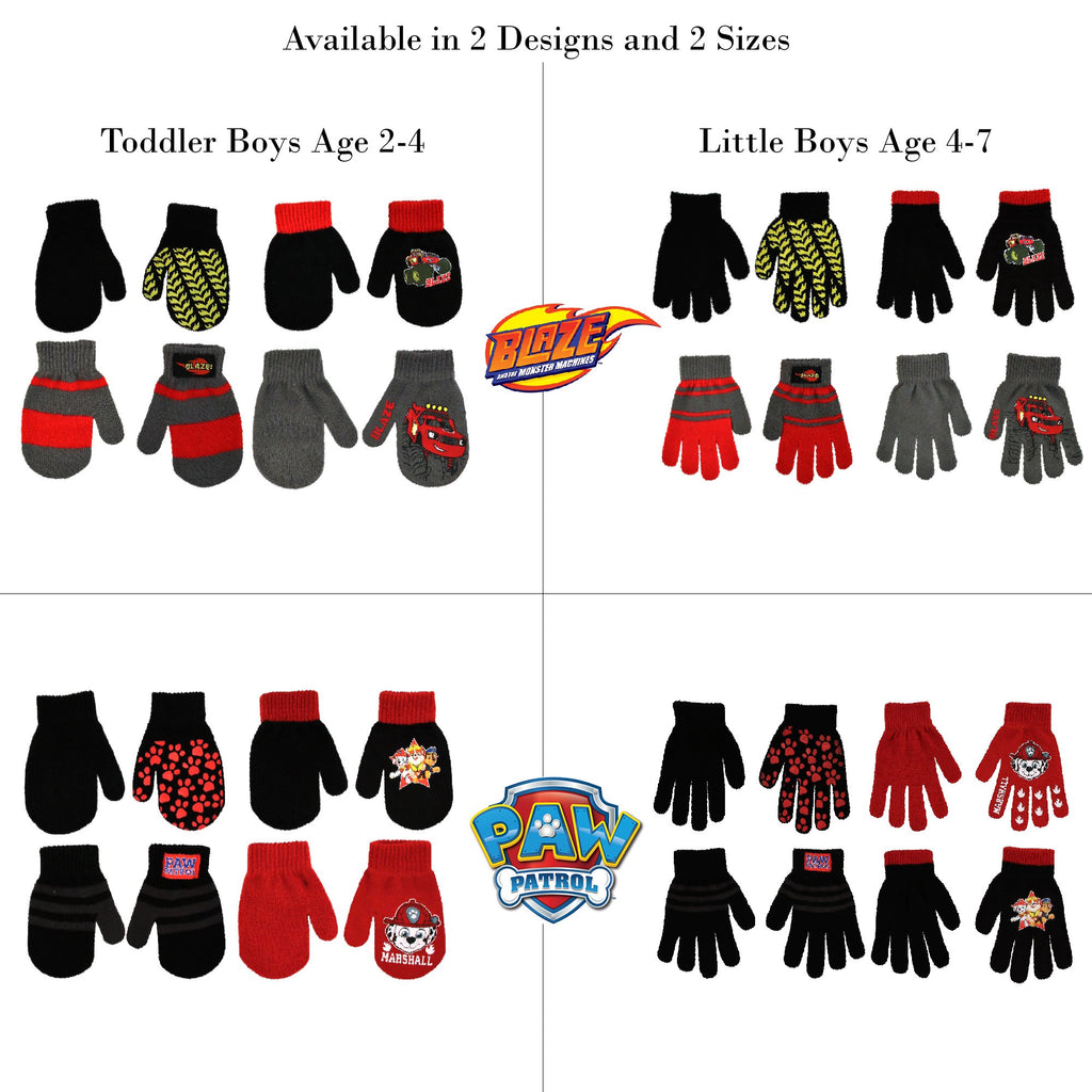 Nickelodeon Assorted Designs 4 Pair Gloves or Mittens Cold Weather Set, Little Boys, Age 2-7 - Accessory Place