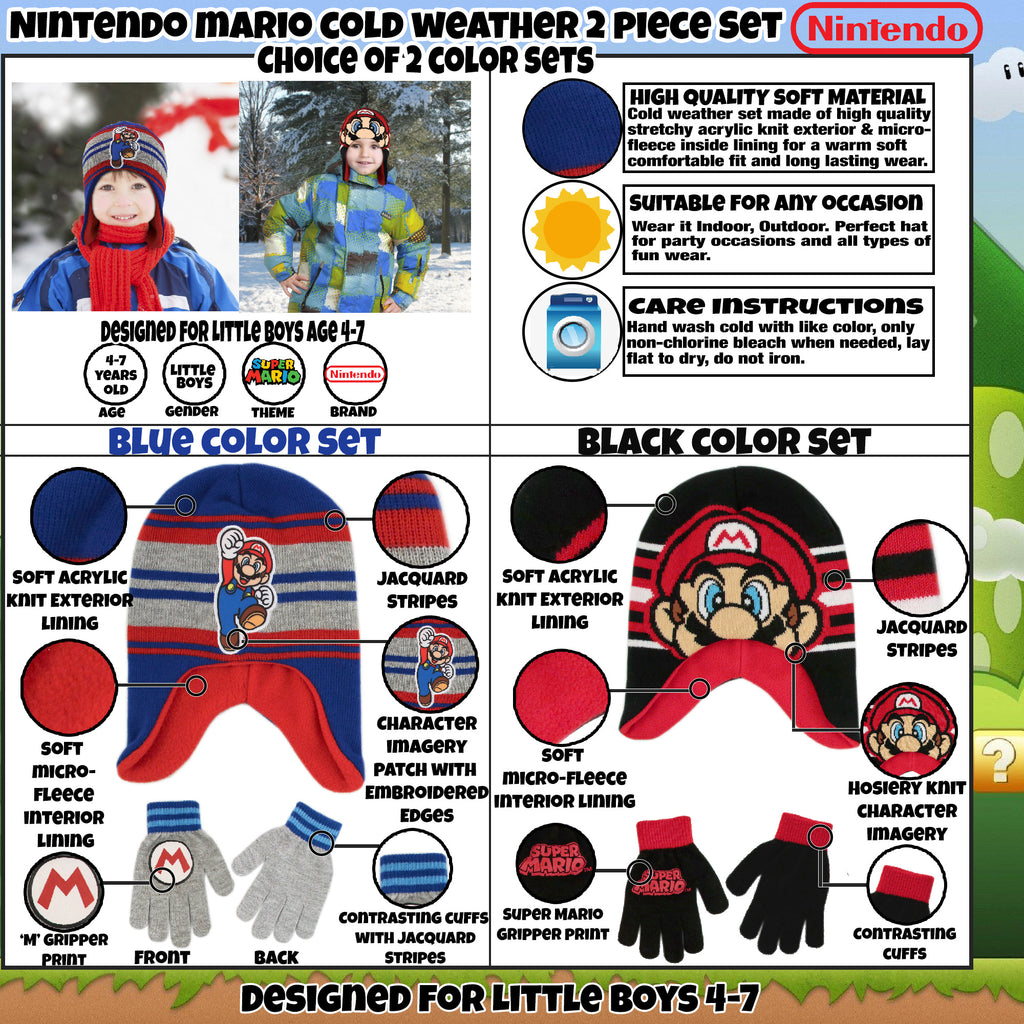 Nintendo Super Mario Hat and Gloves Cold Weather Set, Little Boys, Age 4-7 - The Accessories Outlet