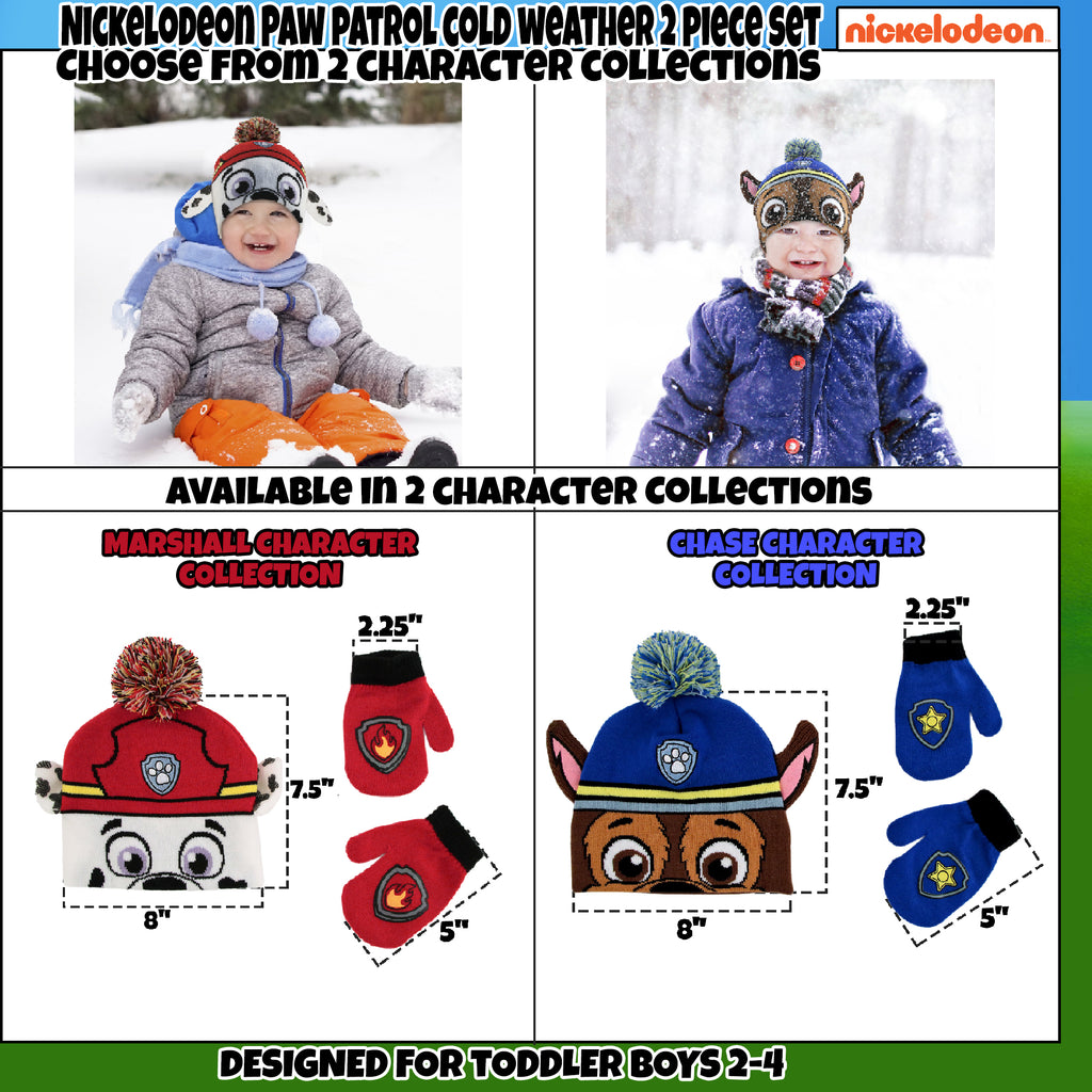 Nickelodeon Paw Patrol Beanie Hat and Mittens Cold Weather Set, Toddler Boys, Age 2-4 - The Accessories Outlet