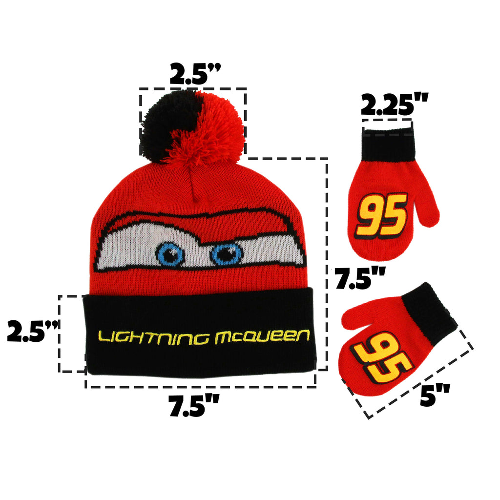 Disney Cars Lightning McQueen Hat and Mittens Cold Weather Set, Toddler Boys, Age 2-4 - The Accessories Outlet