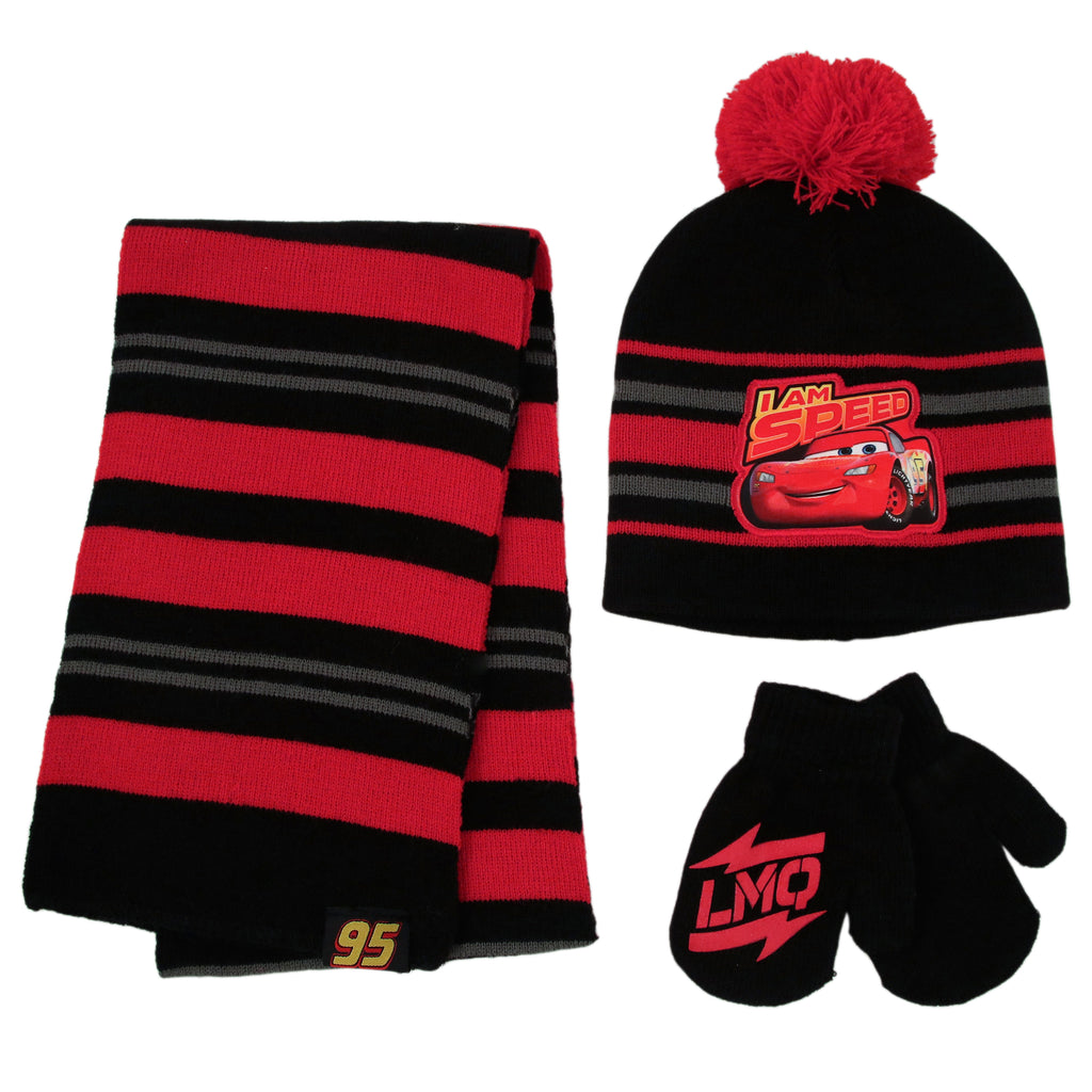 Disney Cars Lightning McQueen Hat, Scarf and Mitten or Glove Cold Weather Set, Toddler Boys, Age 2-4 or Little Boys, Age 4-7 - Accessory Place