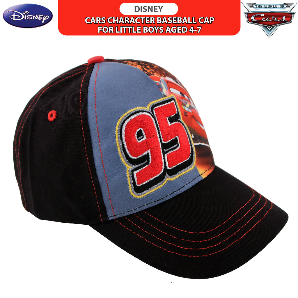 Disney Cars Lightning McQueen Character Cotton Baseball Cap, Little Boys,Age 4-7 - The Accessories Outlet