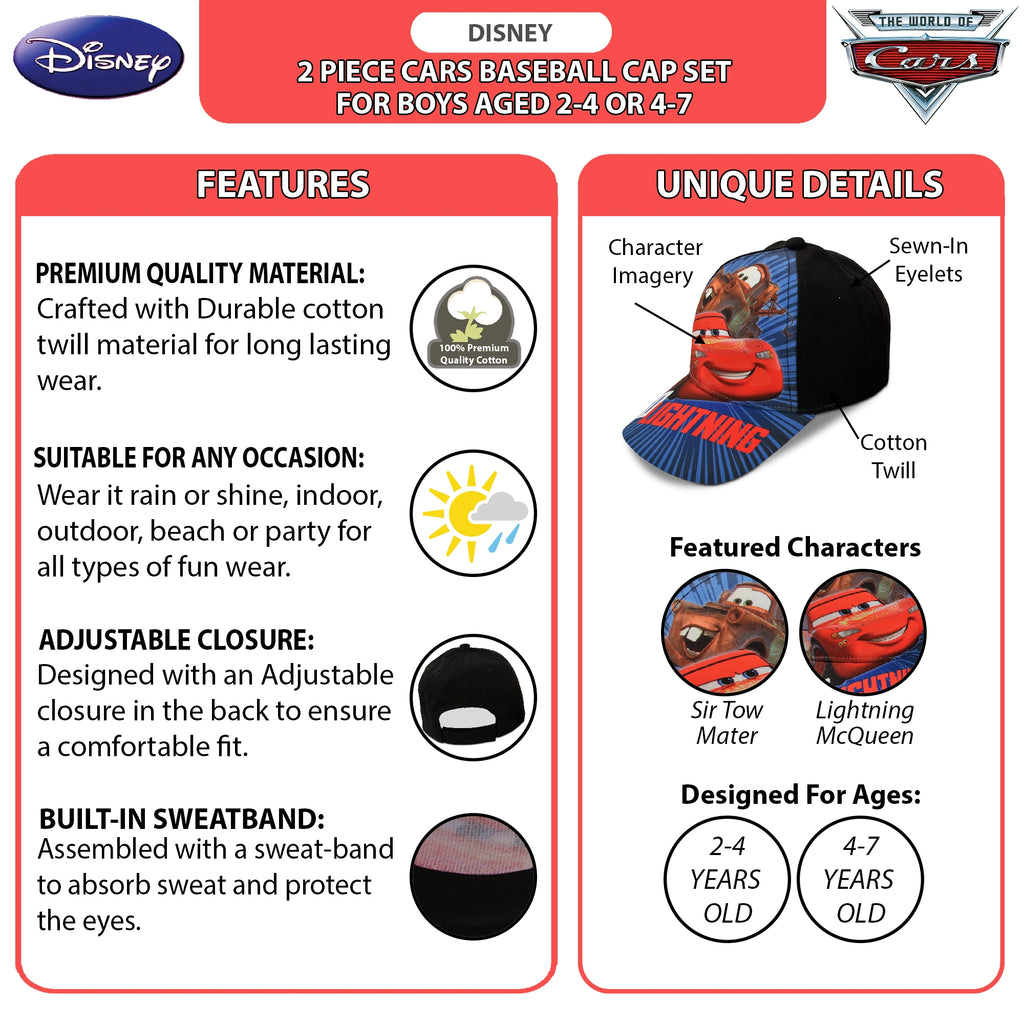 Disney Little Boys Cars Lightning McQueen Cotton Baseball Cap, 2 Piece Design Set, Age 2-7 - The Accessories Outlet