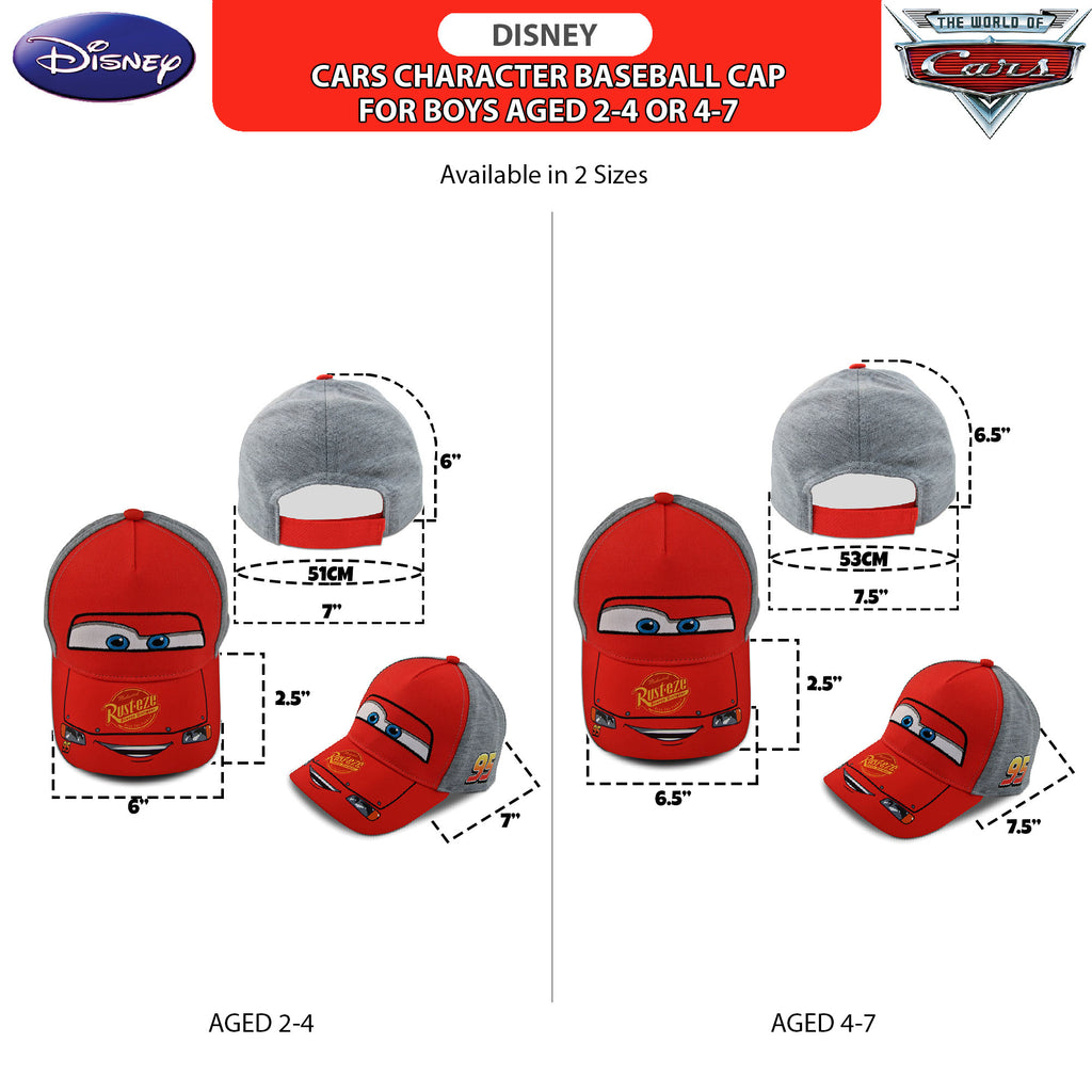 Disney Little Boys Cars Lightning McQueen Character Cotton Baseball cap, Red/Grey, Age 2-7 - The Accessories Outlet