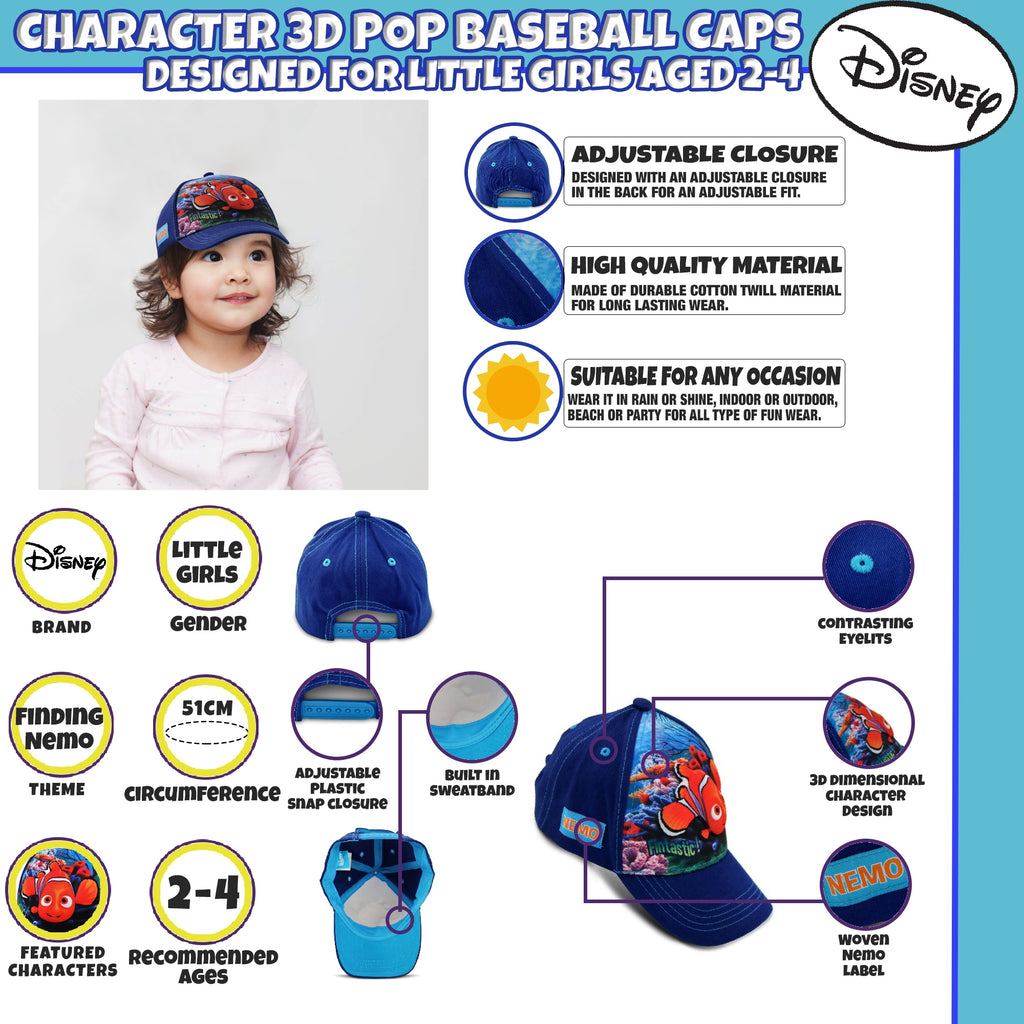 Disney Toddler Girls Finding Nemo Character 3D Pop Baseball Cap, Blue, Age 2-4 - The Accessories Outlet