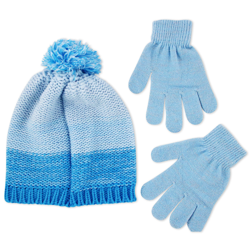 Disney Frozen Elsa and Anna Beanie Hat and Gloves Cold Weather Set, Little Girls, Age 4-7 - The Accessories Outlet