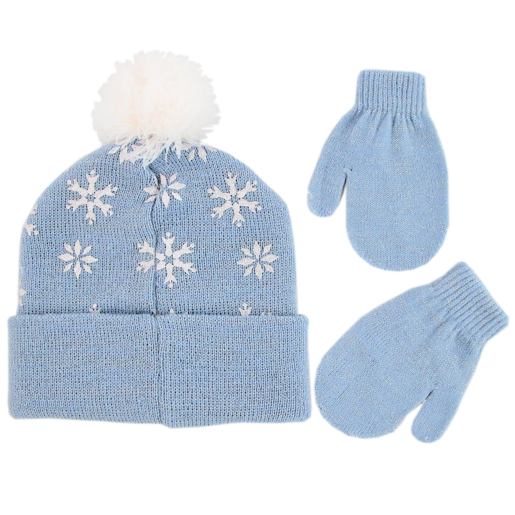 Disney Frozen Elsa Hat and Mittens Cold Weather Set, Toddler Girls, Age 2-4 - The Accessories Outlet
