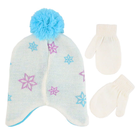 Disney Frozen Elsa and Anna Hat and Mittens Cold Weather Set, Toddler Girls, Age 2-4 - The Accessories Outlet