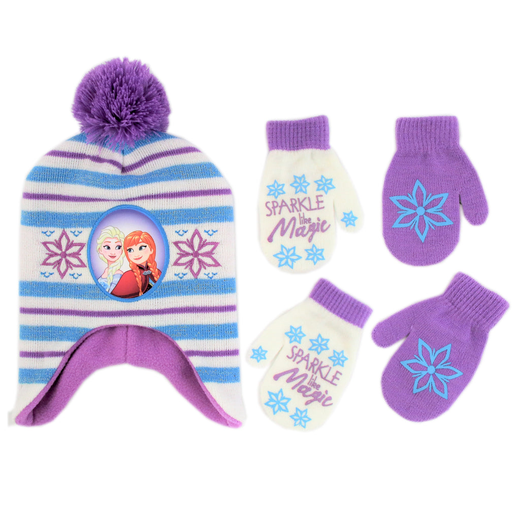 Disney Frozen Hat and 2 Pair Gloves/Mittens Cold Weather Set, Little Girls, Age 2-7 - The Accessories Outlet