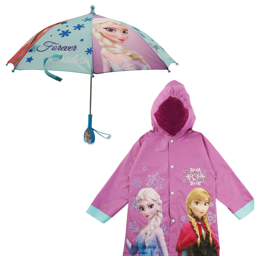 Disney Frozen Character Slicker and Umbrella Rainwear Set, Little Girls, Age 2-7 - The Accessories Outlet