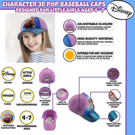 Disney Frozen Anna and Elsa Baseball Cap, Little Girls Age 4-7 - The Accessories Outlet