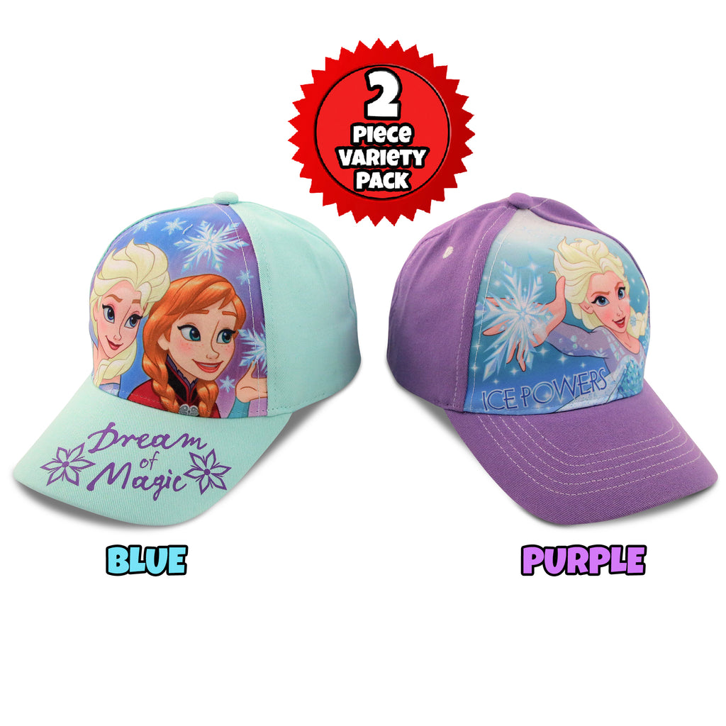 Disney Little Girls Frozen Character Cotton Baseball Cap, 2 Piece Design Set, Age 2-7 - The Accessories Outlet