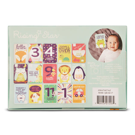 Rising Star Milestone Photo Prop Cards Two Sided Print Gift Set, Baby Boys, Age 0-12M - Accessory Place