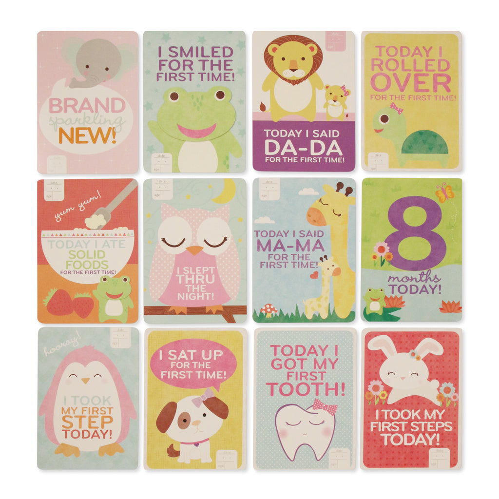 Rising Star Milestone Photo Prop Two Sided Print Cards Gift Set, Baby Girls, Age 0-12M - The Accessories Outlet