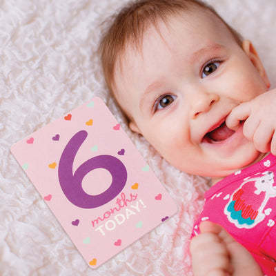 Rising Star Milestone Photo Prop Two Sided Print Cards Gift Set, Baby Girls, Age 0-12M - Accessory Place