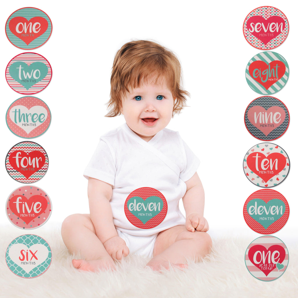Rising Star Monthly Milestone Photo Sharing Belly Stickers Gift Set, Baby Girls, Age 0-12M - The Accessories Outlet