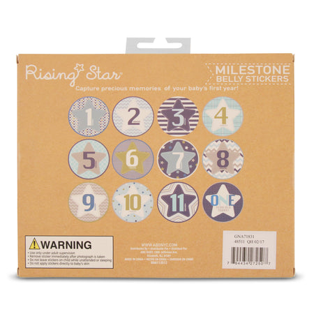 Rising Star Milestone Monthly Photo Sharing Belly Stickers Gift Set, Baby Boys, Age 0-12M - The Accessories Outlet