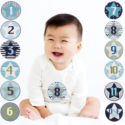 Rising Star Milestone Monthly Photo Sharing Belly Stickers Gift Set, Baby Boys, Age 0-12M - Accessory Place