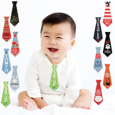 Rising Star Milestone Photo Sharing Tie Belly Stickers Gift Set, Baby Boys, Age 0-12M - Accessory Place