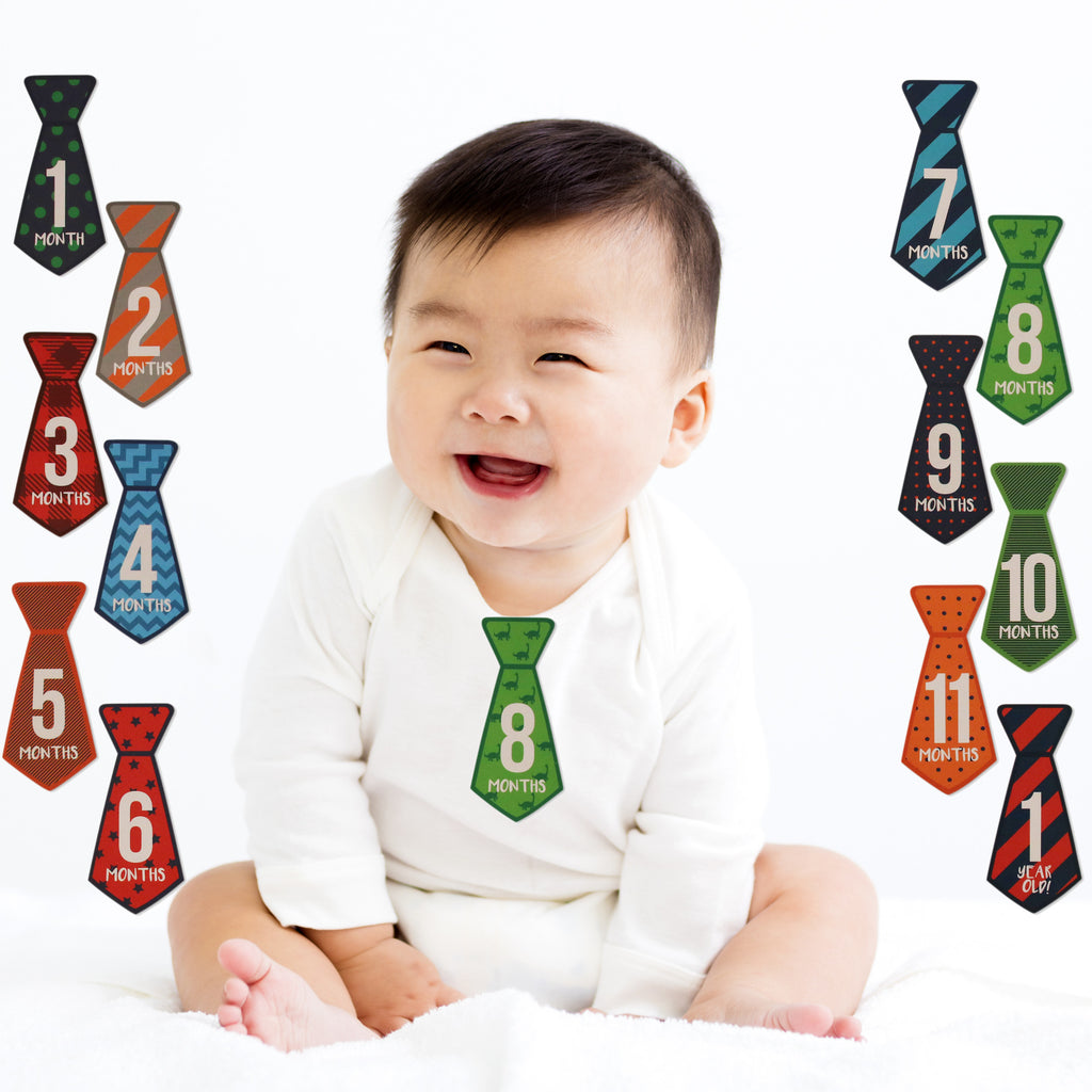 Rising Star Milestone Photo Prop Tie Shaped Belly Stickers Gift Set, Baby Boys, Age 0-12M - The Accessories Outlet