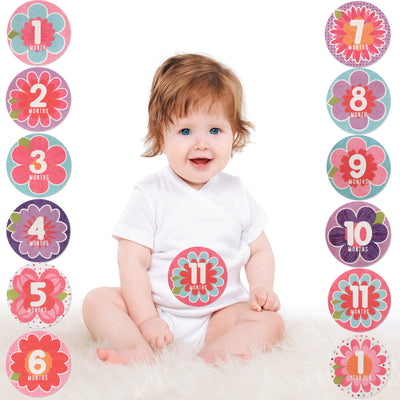 Rising Star Milestone Photo Sharing Flower Belly Stickers Gift Set, Baby Girls, Age 0-12M - Accessory Place
