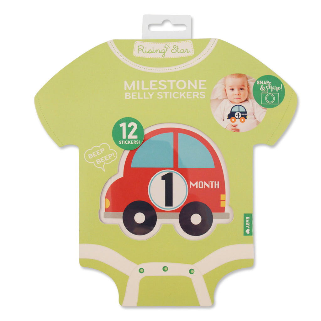 Rising Star Monthly Milestone Photo Sharing Belly Stickers Gift Set, Baby Boys, Age 0-12M - The Accessories Outlet