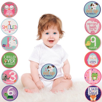 Rising Star Milestone Photo Sharing Occasions Belly Stickers Gift Set, Baby Girls, Age 0-12M - Accessory Place