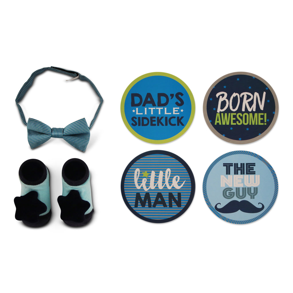 Rising Star Milestone Photo Prop Stickers Bow-tie and Booties Gift Set, Baby Boys, Age 0-12M - The Accessories Outlet