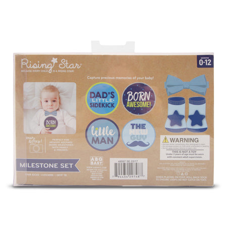 Rising Star Milestone Photo Prop Stickers Bow-tie and Booties Gift Set, Baby Boys, Age 0-12M - Accessory Place